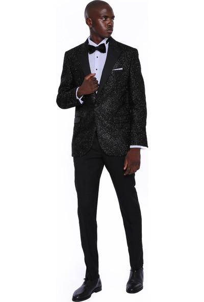 Wessi Erkek Siyah Sivri Yaka Smokin Ceket Slim Fit Ceket