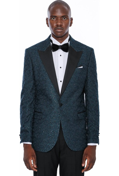 Wessi Erkek Yeşil Sivri Yaka Smokin Ceket Slim Fit Ceket