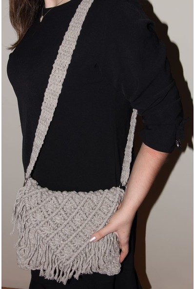 1Se2Ge Handmade Elay Tasarım Kadın Omuz Çantası Bohem Makrome El Emeği