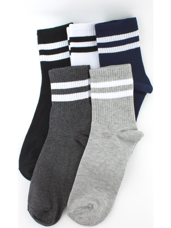 Trick Or Treat 5'li Paket Beyaz Çizgili Farklı Renklerde Kısa Soket Erkek Çorap