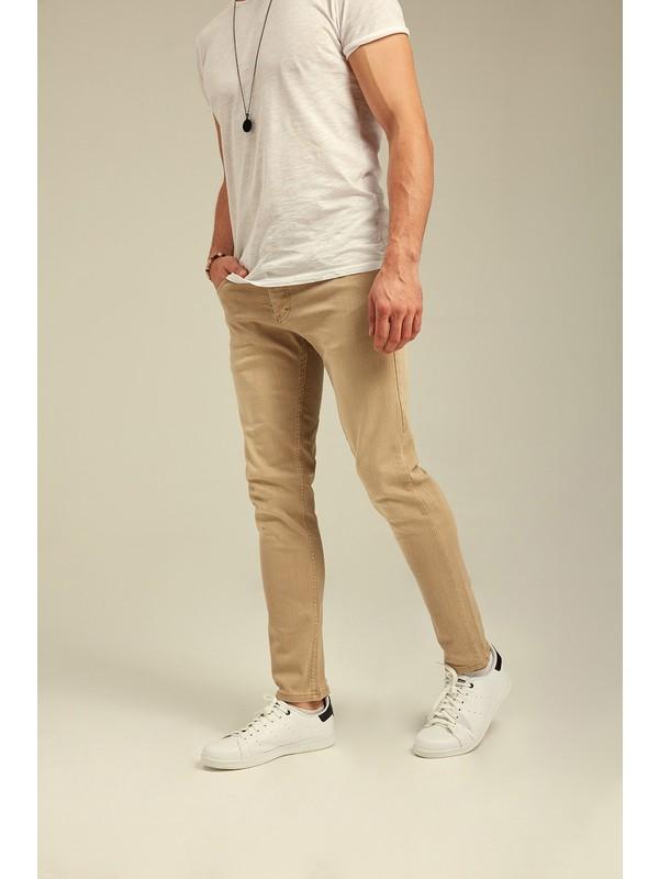 Tarz Cool Kahverengi Denim Slim Fit Pantolon-Pnt820001R01