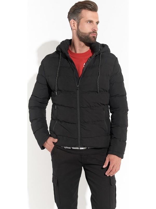 Z Giyim Erkek Siyah Kapşonlu Şişme Mont
