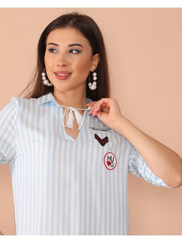 Polo Login Çizgili Tunik Gömlek