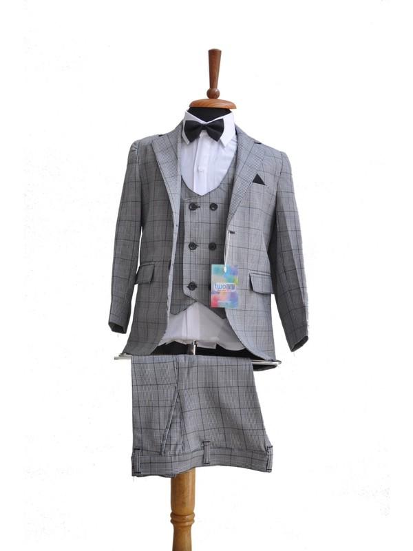 Twoinn Erkek Çocuk Gri Ekose Papyonlu Ceketli Takım Elbise 3-12 Yaş