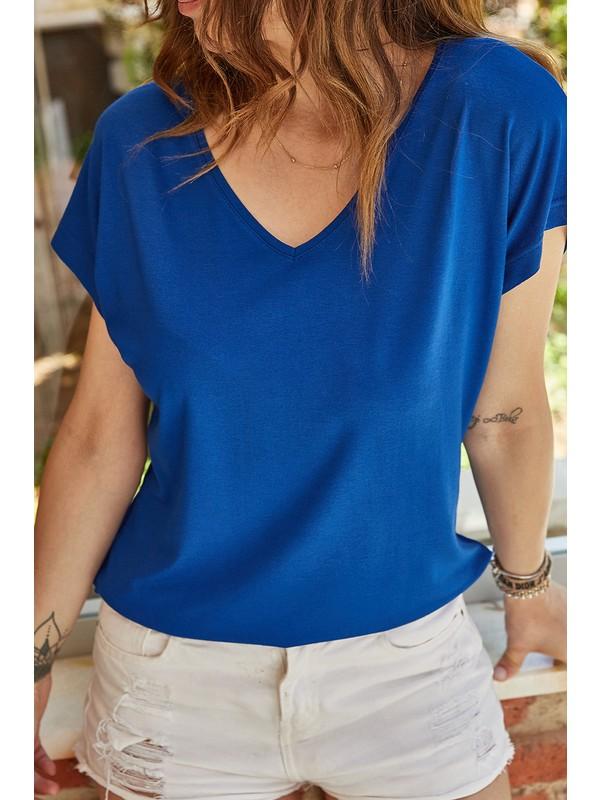 Xhan V Yaka Dökümlü Viskon T-Shirt 0YXK2-43377-15