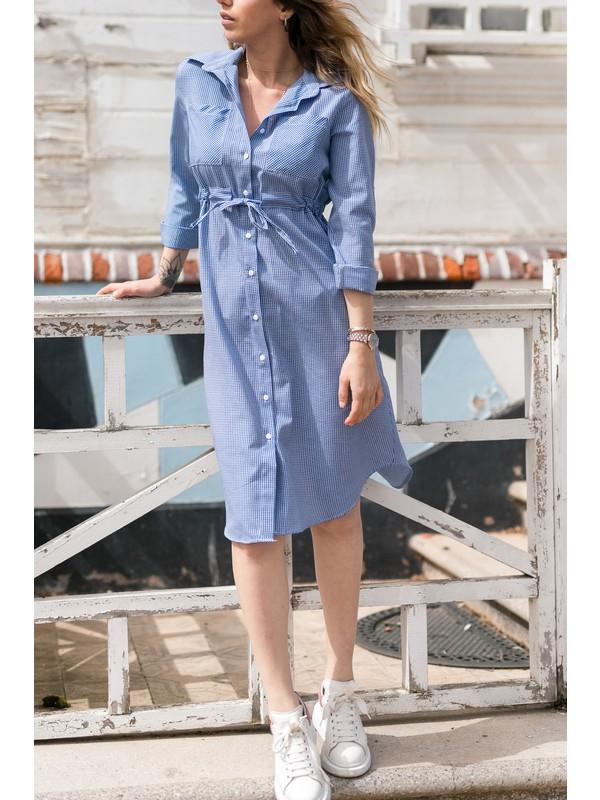 Xhan Kareli Beli Bağcıklı Elbise 0YXK6-43348-12