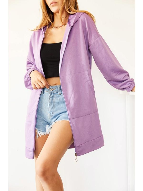 Xhan Lila Uzun Fermuarlı Sweatshirt 0YXK8-44010-26