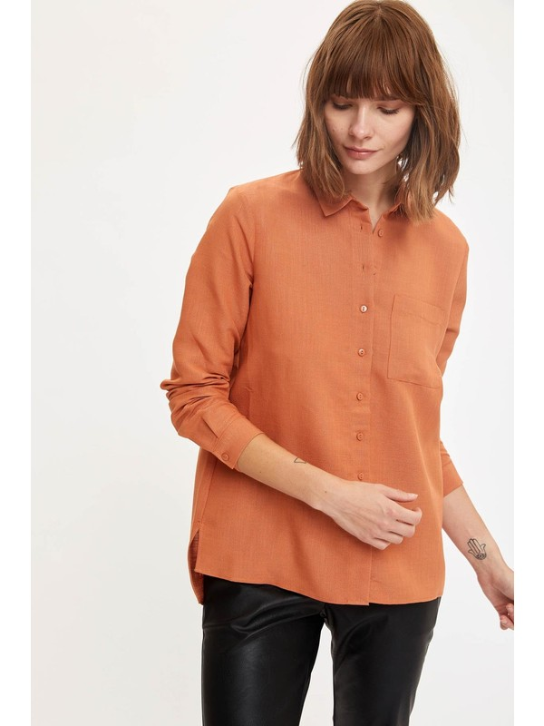 Defacto Kadın Cepli Uzun Kol Gömlek Tunik