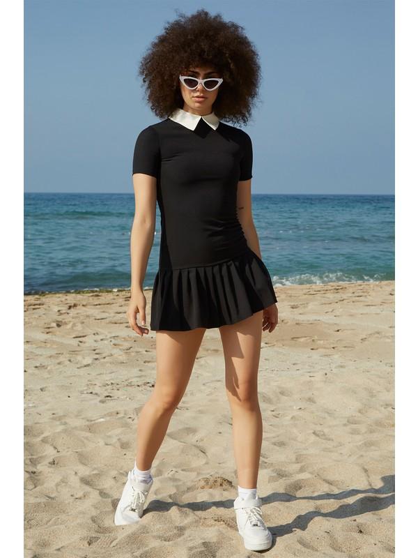 Berfuğ Kıran Etekleri Pileli Beyaz Yakalı Mini Elbise - Siyah