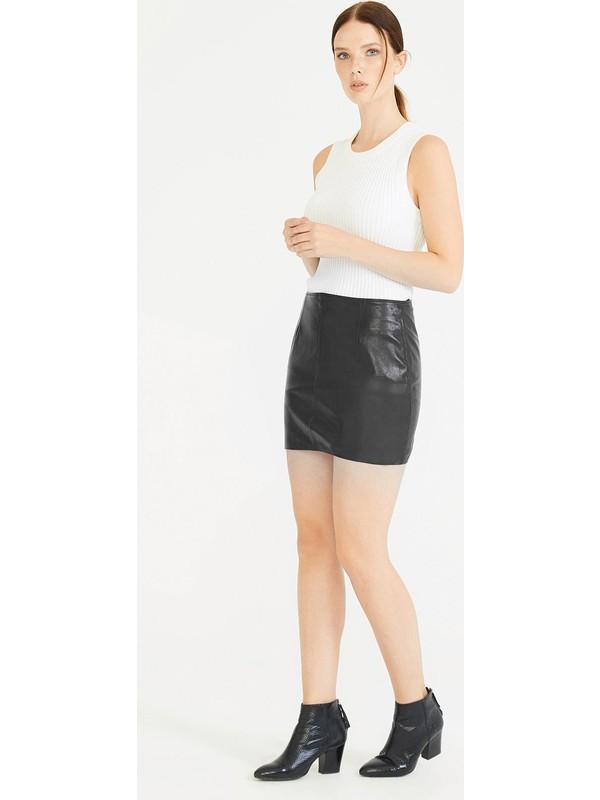 Deri Company Kadın Deri Etek Agatha Siyah 222501