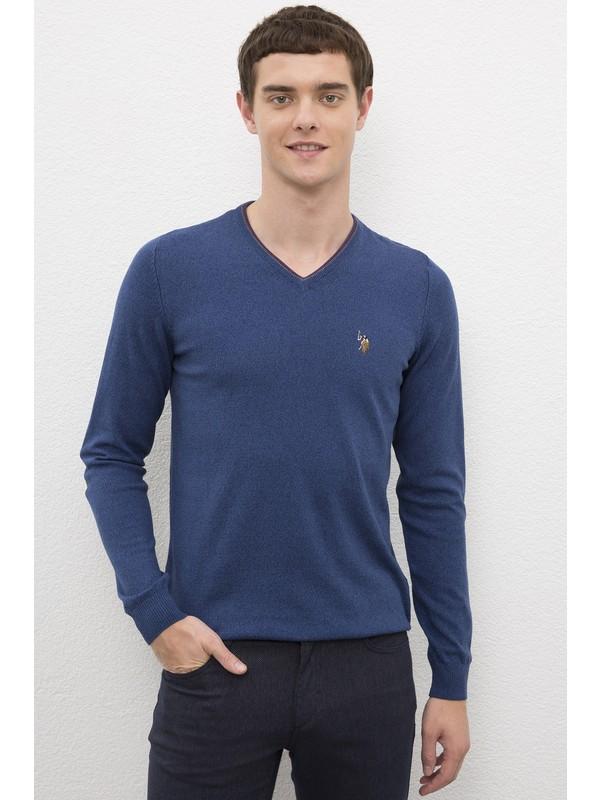 U.S. Polo Assn. Erkek Mavı Triko Kazak Basic 50224747-VR028