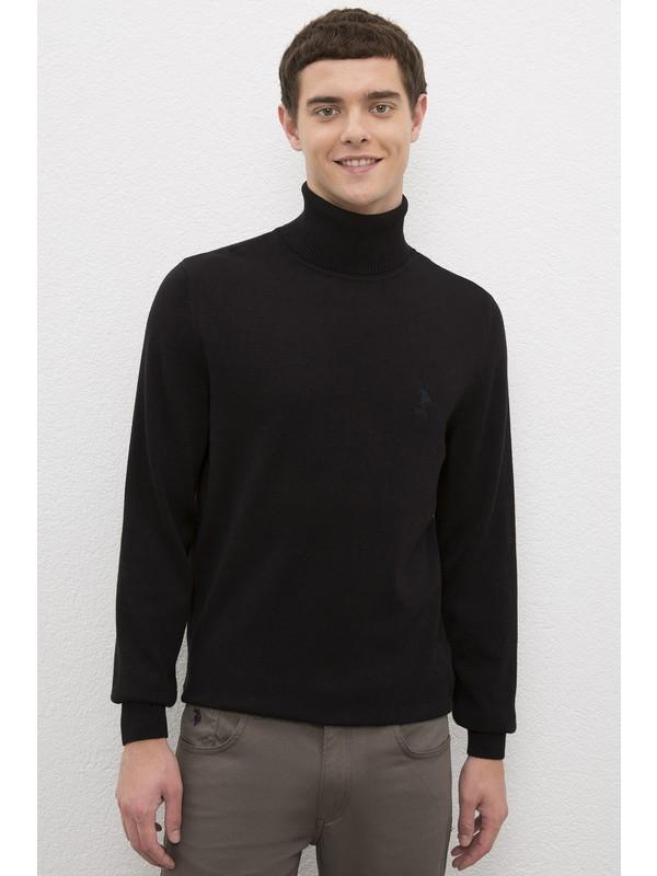 U.S. Polo Assn. Erkek Siyah Triko Kazak Basic 50224728-VR046