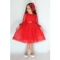 Kırmızı Dantelli Kız Çocuk Elbise