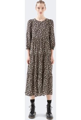 Mavi Kadın Çiçek Baskılı Siyah Elbise 131018-33022