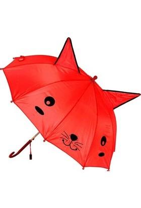 Mobgift Kulaklı Düdüklü Çocuk Şemsiyesi Kırmızı