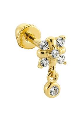 Dianora Piercing Taşlı Sallantılı Altın Helix Piercing