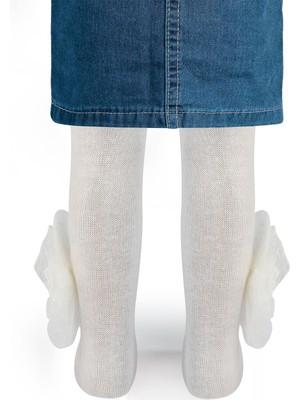 Mini Damla Kız Bebek Külotlu Çorap 0-24 Ay Ekru