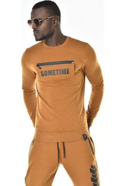 David&Gerenzo Secret Cep Detay Bisiklet Yaka Iki Iplik Hardal Sweatshirt