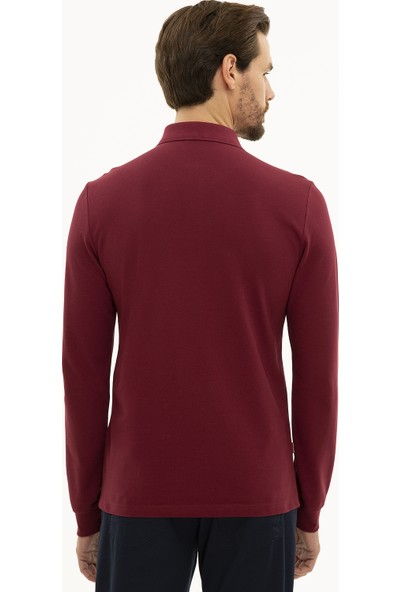 Pierre Cardin Erkek Bordo Slim Fit Polo Yaka Sweatshirt 50233280-VR014
