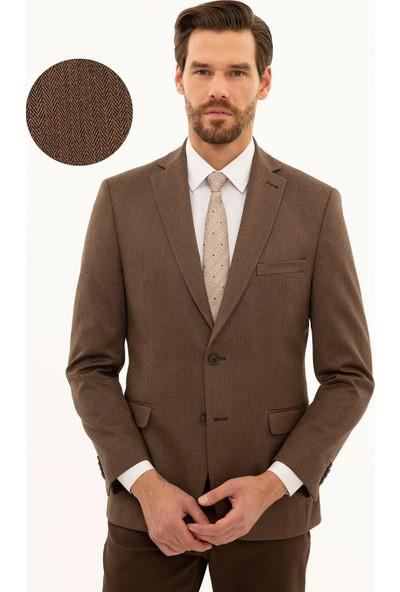 Pierre Cardin Erkek Camel Slim Fit Ceket 50225489-VR015