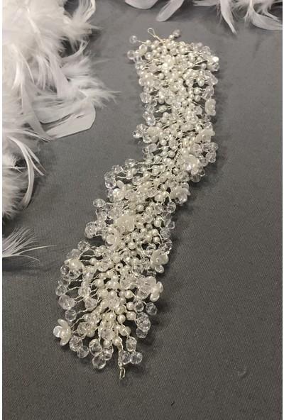Hayalperest Boncuk Çiçek Motifli Kristalli Arrown Gelin Saç Aksesuarı