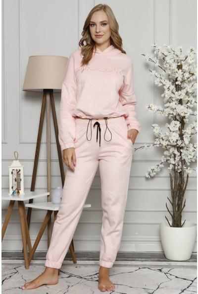 Pijama Evi You Me Desenli Kapşonlu Kadın Peluş Polar Pijama Takımı
