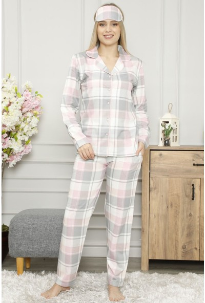 Pijama Evi Ekose Önden Düğmeli Uzun Kollu Kadın Pijama Takımı