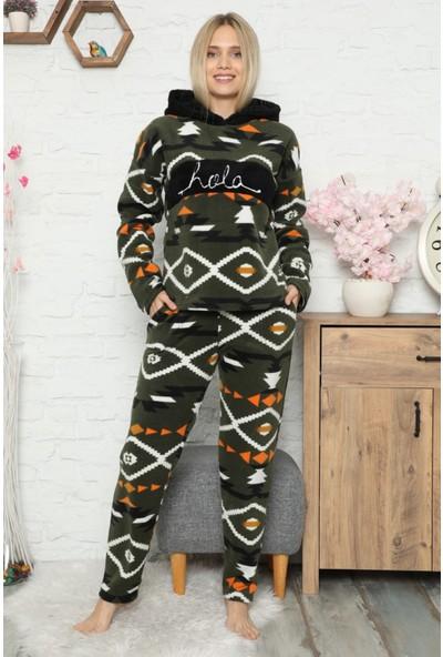 Pijama Evi Hola Desenli Kapşonlu Kadın Peluş Polar Pijama Takımı