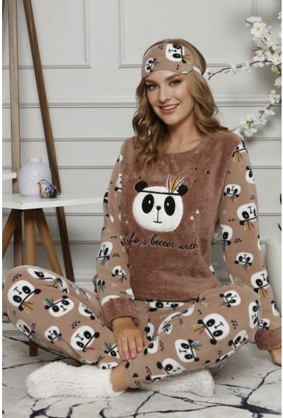 Pijama Evi Life Panda Desenli Kadın Peluş Pijama Takımı