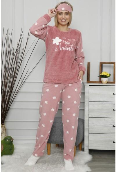 Pijama Evi Hello Winter Desenli Kadın Peluş Pijama Takımı