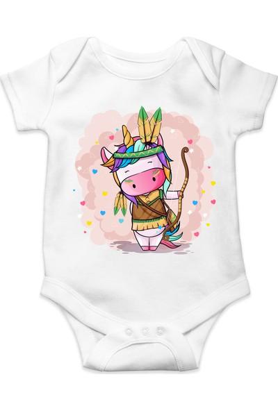 Du Tatlı Kızılderili Baskılı Kız Bebek Zıbın