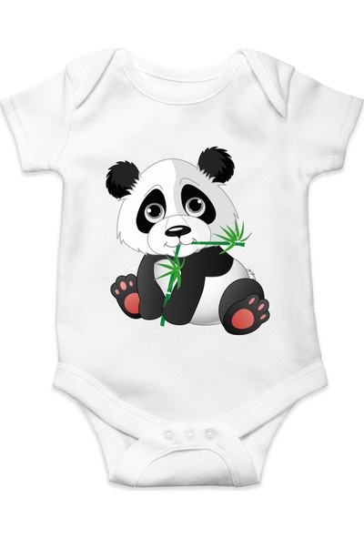 Du Sevimli Panda Baskılı Kız Bebek Zıbın