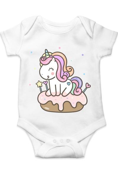 Du Cupcake Unicorn Baskılı Kız Bebek Zıbın