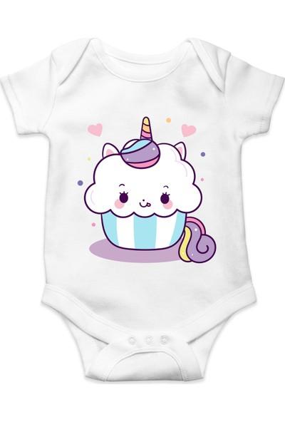 Du Hamham Unicorn Baskılı Kız Bebek Zıbın