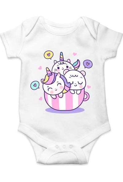 Du Üç Tatlı Unicorn Baskılı Kız Bebek Zıbın
