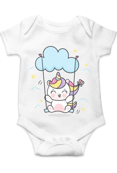 Du Bulutta Sallanan Unicorn Baskılı Erkek Bebek Zıbın