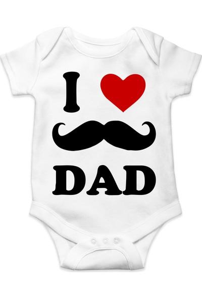 Du I Love Dad Baskılı Erkek Bebek Zıbın