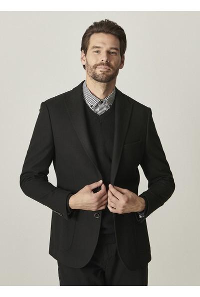 Altınyıldız Classics Slim Fit Dar Kesim Siyah Desenli Ceket
