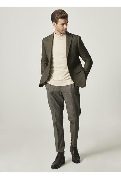 Altınyıldız Classics Slim Fit Dar Kesim Kırlangıç Yaka Desenli Haki Yünlü Ceket