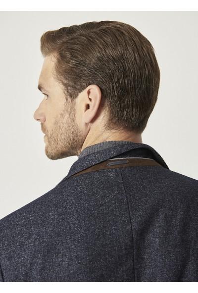 Altınyıldız Classics Slim Fit Dar Kesim Desenli Lacivert Yünlü Casual Ceket