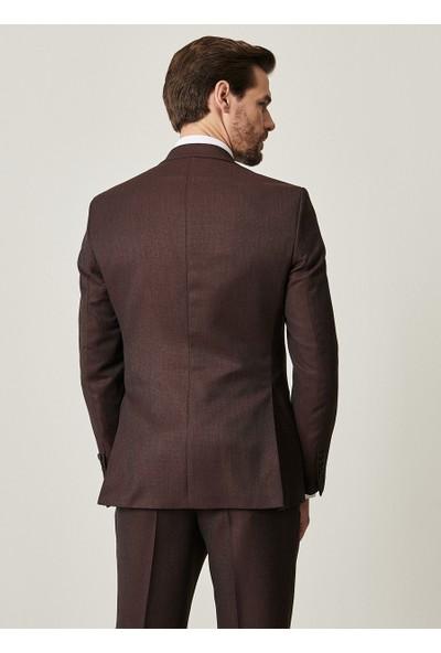 Altınyıldız Classics Slim Fit Desenli Bordo-Gri Yünlü Su Geçirmez Nano Takım Elbise
