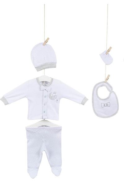 Aziz Bebe 5248 Papyonlu Erkek Bebek Pamuklu 5'li Hastane Çıkış Seti