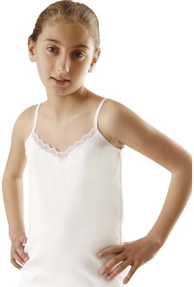 Türen 435 Kız Çocuk Pamuklu Dantelli Ip Askılı Kaşkorse Atlet 2'li Paket