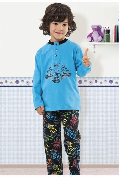Hmd 5153 Erkek Çocuk Pamuklu Uzun Kol Pijama Takımı