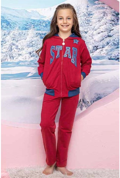 Hmd 5249 Star Kırmızı Kız Çocuk Eşofman Takım