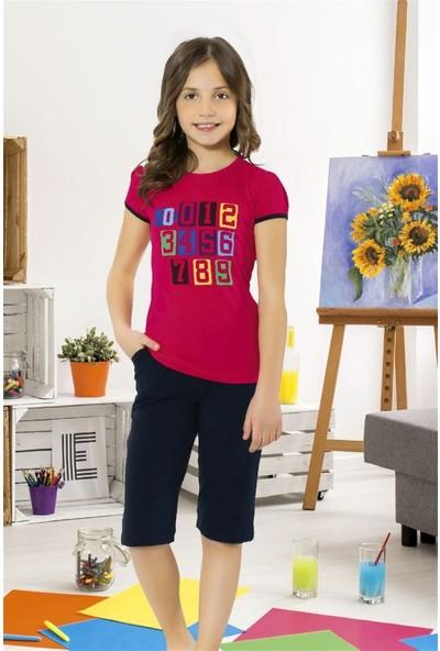 Hmd 6089 Baskılı Kız Çocuk Pamuklu Kapri Takım