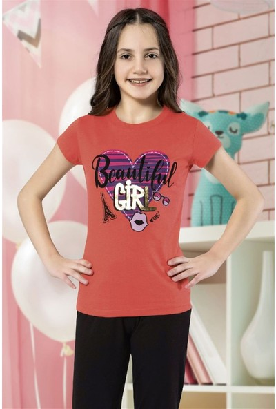 Hmd 6119 Beautiful Girl Kız Çocuk Kısa Kol Pamuklu Pijama Takımı