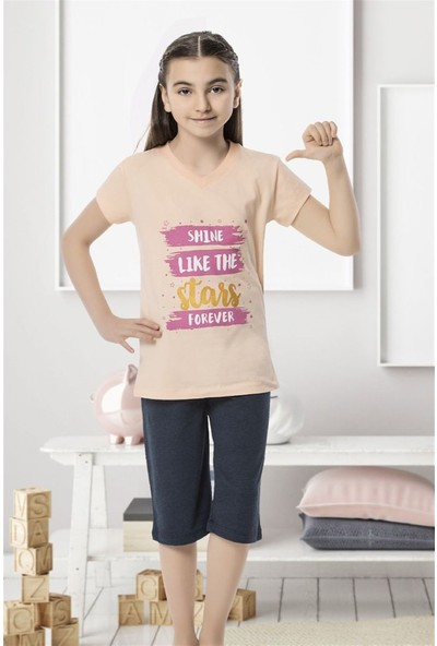 Hmd 6138 Shine Kız Çocuk Pamuklu Kapri Takım