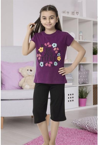 Hmd 6149 Çiçek Desenli Kız Çocuk Pamuklu Kapri Takım