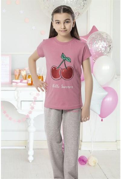 Hmd 6151 Kirazlı Kız Çocuk Kısa Kol Pamuklu Pijama Takımı